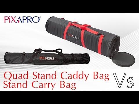 The PIXAPRO Quad Stand Caddy Bag, Vs Standard Pixapro Stand Bag