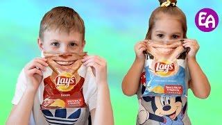 Обычная Еда против Чипсов Челлендж! Bad Baby Чипсы и Обычная Еда! Real Food vs Gummy Food!
