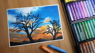 문교쇼프트 오일파스텔 72색으로 노을지는 풍경 그리기