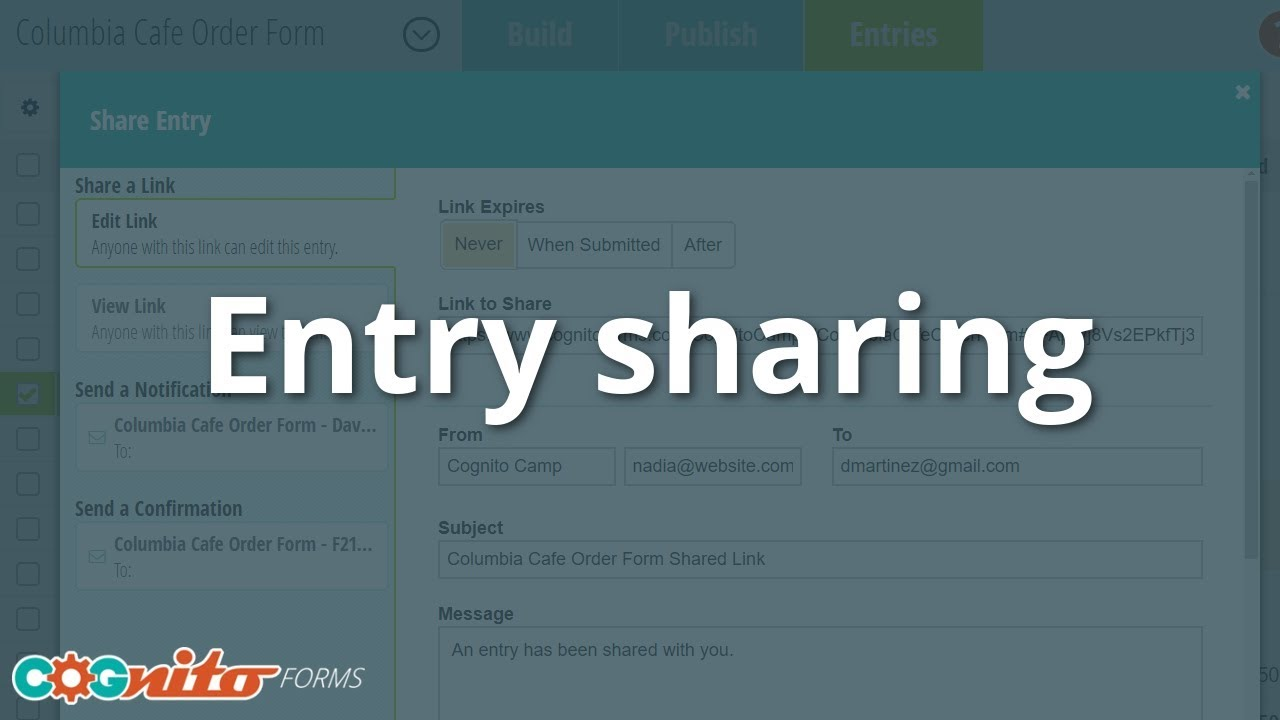 Entry Sharing - Cognito Forms