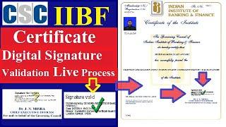 IIBF CERTIFICATE Digital Signature Validation LIVE Process | IIBF Certificate Signature Valid कैसे