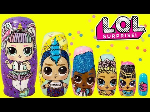 LOL Surprise Series 3 Nesting Dolls, Stacking Cups Toy Surprises Unicorn, Punk Boi