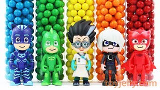 Learn Colors with Pj Masks & Magic Beads Choco Balls Bottles Change to Kinder Surprise Toys For Kids