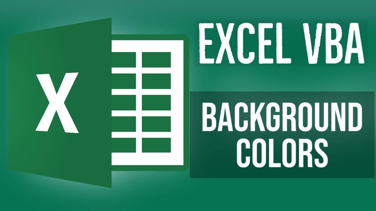 Excel VBA Tutorial for Beginners 10 - Background Colors in Excel VBA