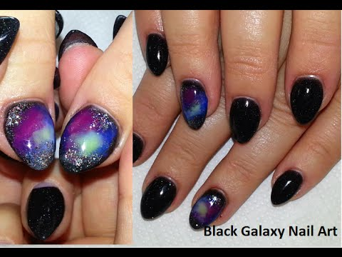 black galaxy nail art  almond acrylic nails  youtube
