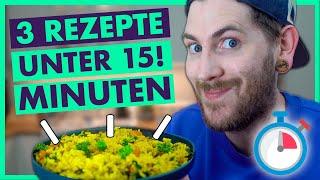 3 SCHNELLE Rezepte UNTER 15 Minuten - Einfach und vegan!