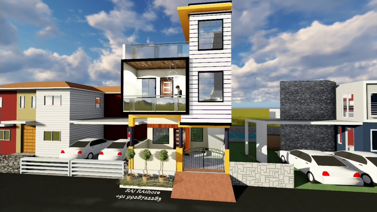 Front Elevation Designs 24 Feet Wide : Feet front elevation youtube