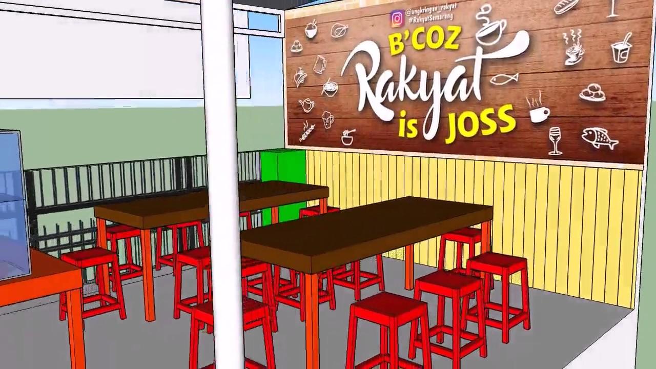 Belajar Sketchup 2016 Desain Warung Makan Angkringan Rakyat