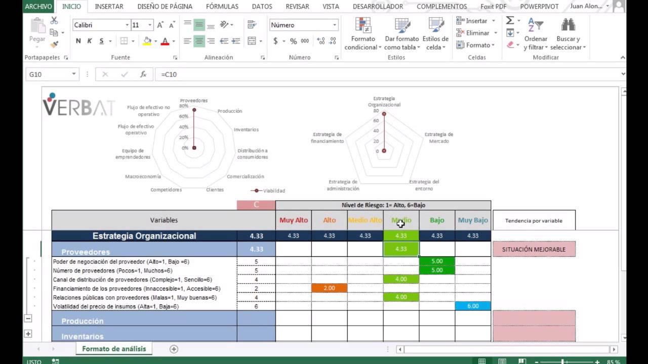 Modelo estratégico de análisis de riesgo en Excel - YouTube