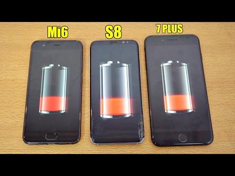 Xiaomi Mi6 vs Galaxy S8 vs iPhone 7 Plus - Battery Drain Test! (4K)