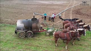 Epic 4K drone video of Amish children, 6 horses spreading liquid manure in Pennsylvania, USA.