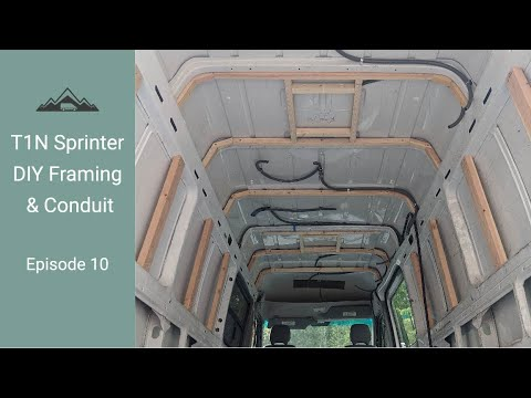Van Build Episode 10! Framing the Walls and Ceiling and Running Electrical Conduit! DIY T1N Sprinter