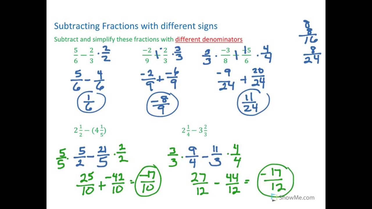 subtracting fractions with different signs and different