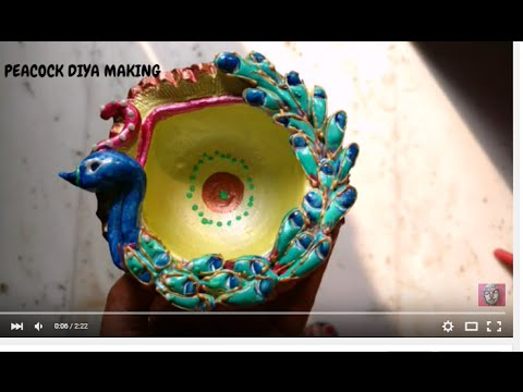 Diya decoration idea make peacock diya for diwali youtube for Diya decoration youtube