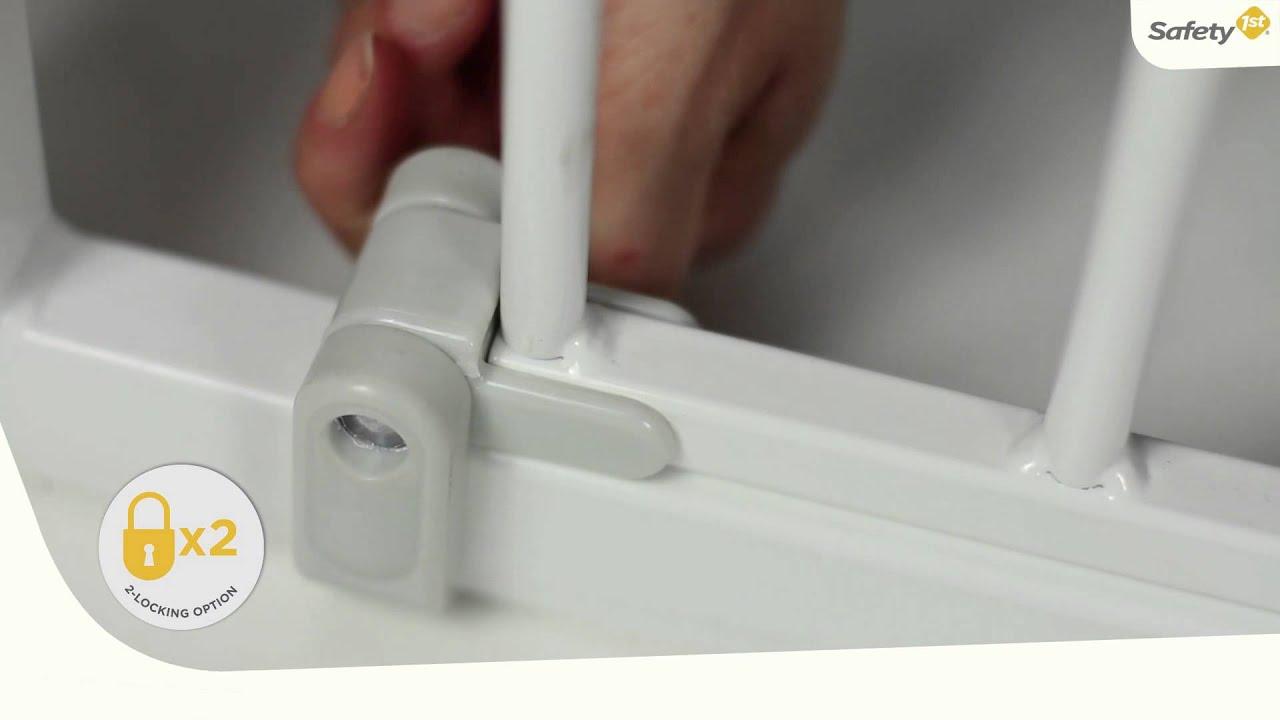 treppenschutzgitter safety 1st quick close youtube. Black Bedroom Furniture Sets. Home Design Ideas