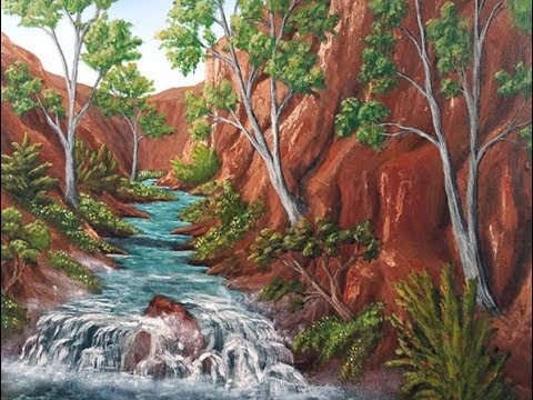 Full Acrylic Painting Tutorial - Desert Canyon Waterfall River Landscape
