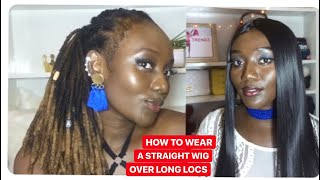 HOW TO WEAR  A STRAIGHT WIG OVER LONG LOCS ( The Loc Side To Side Method)