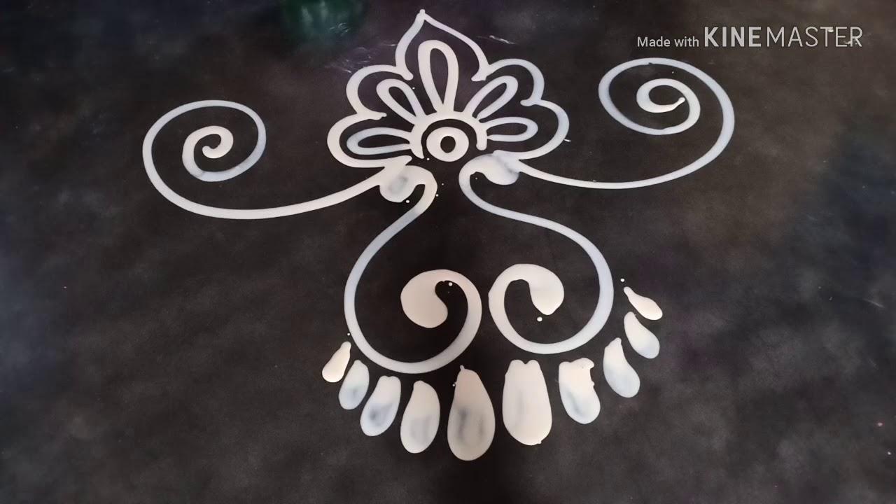 How to draw a beautiful Laxmi pa door alpona design/ Mukesh arts #1
