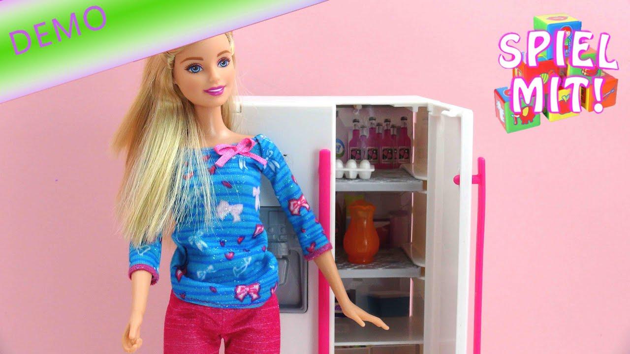 Barbie glam fridge - Barbie Kühlschrank unboxing und demo - YouTube