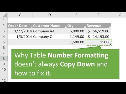 Why Excel Table Number Formatting Doesn't Copy Down and How to Fix It