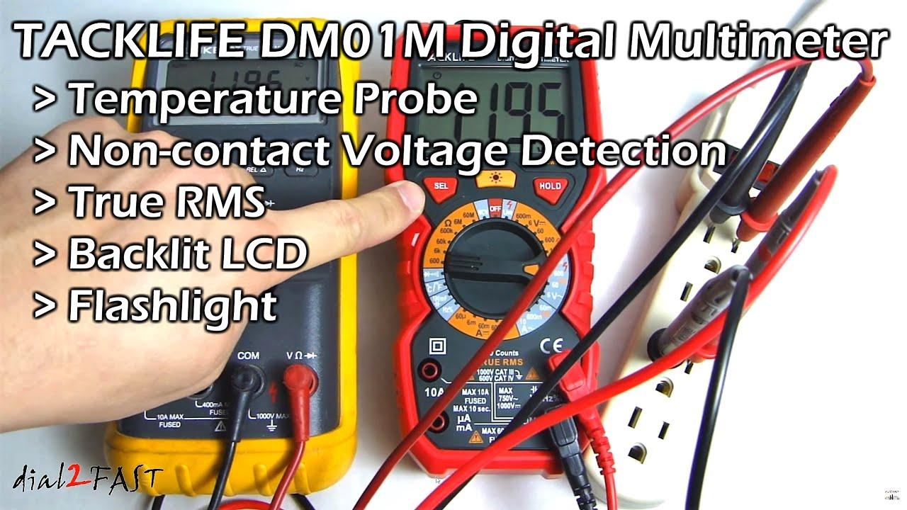Tacklife Dm01m Digital Multimeter Non Contact Voltage Detection Live Line Detector Indicator Youtube