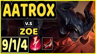 SKT T1 FAKER (AATROX) vs ZOE - 9/1/4 KDA MID CHALLENGER GAMEPLAY - KR