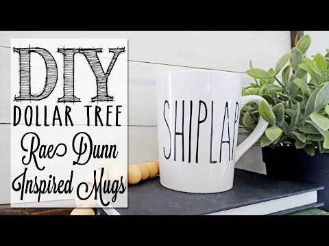 DIY Rae Dunn Inspired Mugs | Dollar Tree Craft