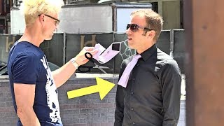 CUTTING PEOPLES TIE OFF - MAGIC TRICK PRANK!!! (Do Not Attempt!)