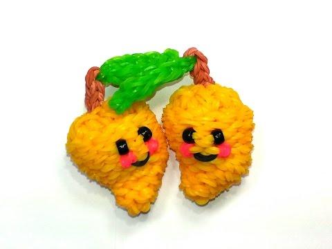 3-D Happy Mango Tutorial by feelinspiffy (Rainbow Loom)