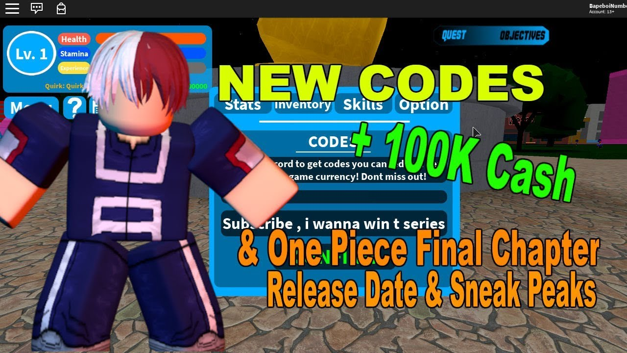 (+100000 Cash)New Codes !| Boku No Roblox: Remastered & One Piece Final  Chapter Release Date + Sneak