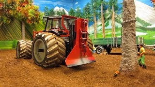 RC TRACTORS vs. a STRONG TREE - farm toys in action