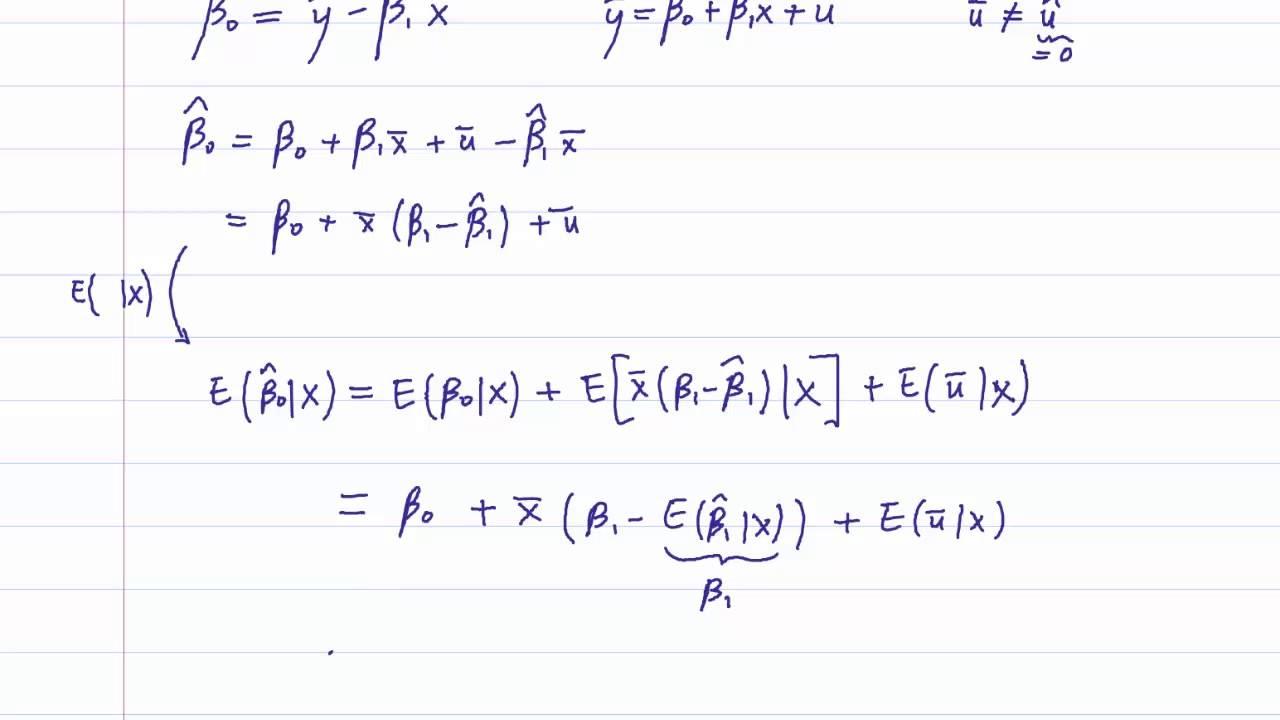 Eco375f 2 4 Unbiasedness Of The Intercept Estimator B0 Youtube