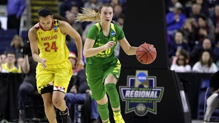 Highlights: Oregon women\'s basketball upsets Maryland to advance to Elite Eight