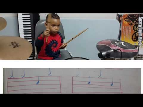 3yr Old JT Learning Drum Notation