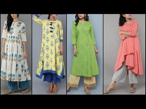 Latest cotton kurta with Palazzo pants /Simple kurta / Kurti designs for college/Office & daily wear