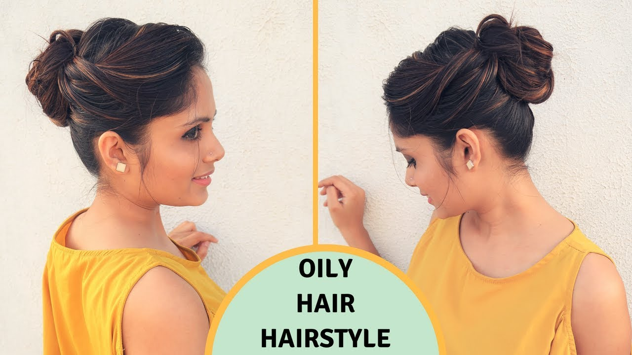 Quick Easy Hairstyle For Oily Hair Oily Hair Hairstyle For Holi Komal S Hair Youtube