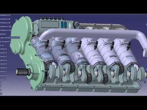 Opposed piston 2 stroke diesel engine animation (Junkers Jumo 205 concept)