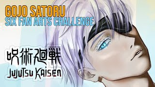 Drawing GOJO SATORU (Jujutsu Kaisen) 👁 #SixFanArtsChallenge
