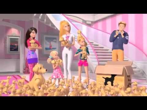 Барби и её  щенки . Barbie and her puppies .