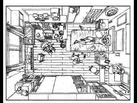 Como dibujar una habitaci n en perspectiva vista de p jaro for Habitacion dibujo
