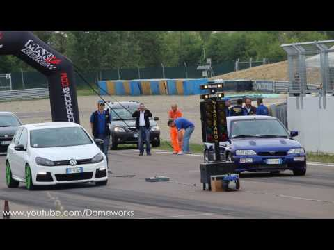 Ford Escort RS Cosworth VS Volkswagen Golf MK6 Turbo Challlenge - Drag racing 1/4 Mile