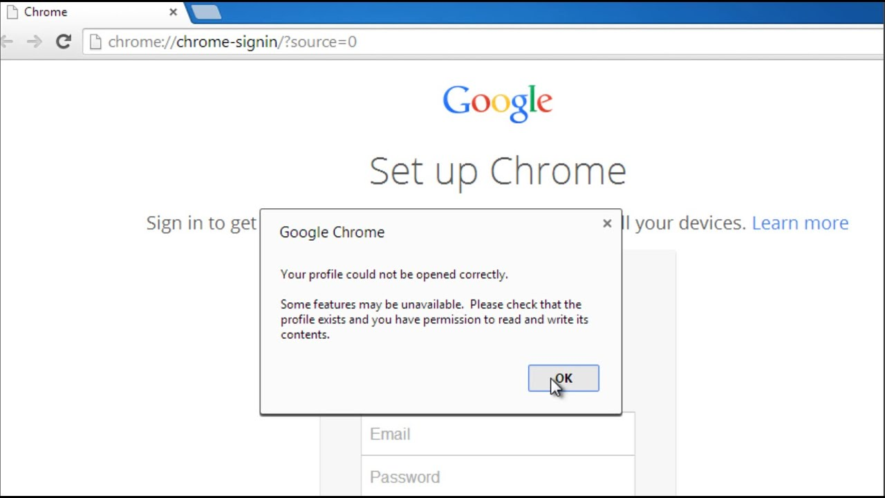 your profile cannot be loaded chrome mac