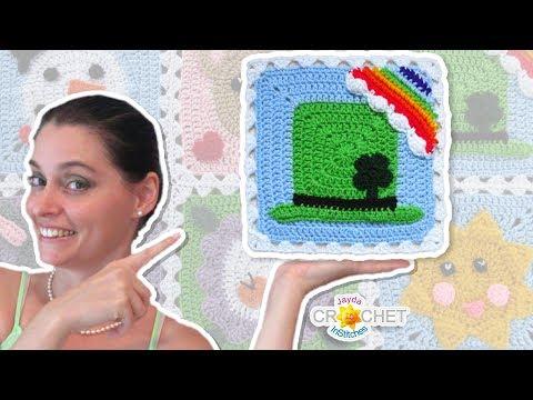 Leprechaun Hat Blanket Square - Crochet Motif - March