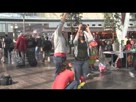 Freeze Mob at the Indianapolis International Airport- Real Scene TV
