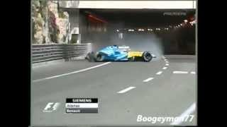 F1 Fernando Alonso Crash with 300 km/h Monaco GP 2004