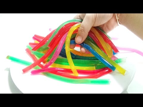 The Diy how to make colors jelly with drinking straws | Rainbow pasta Fun