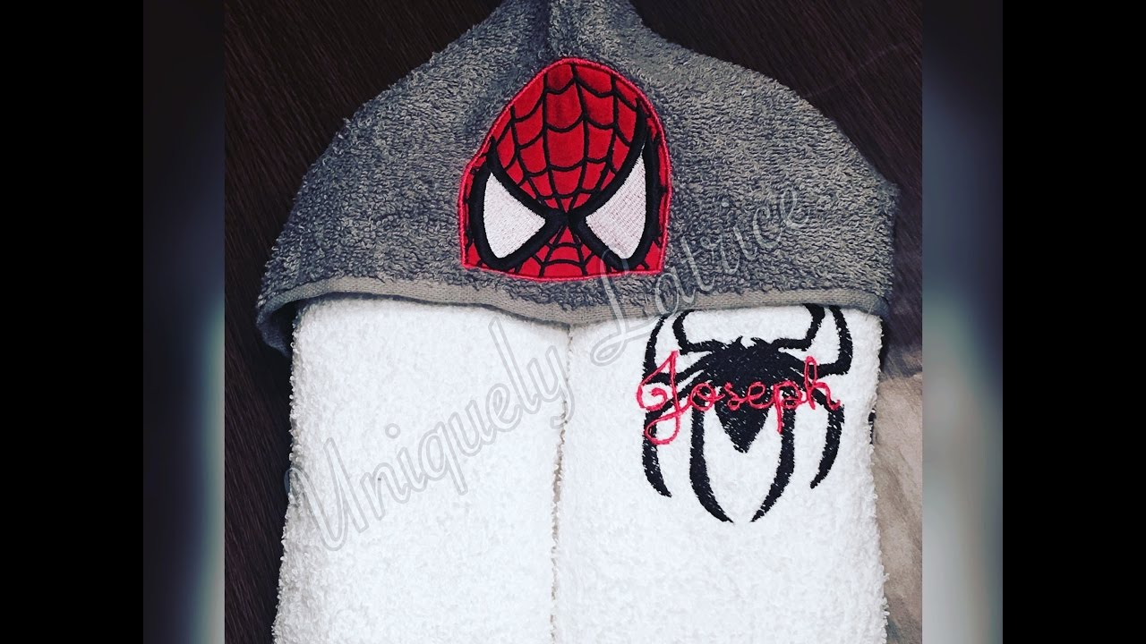 How To Embroider Spiderman Hooded Towel With Pe500 Machine Youtube