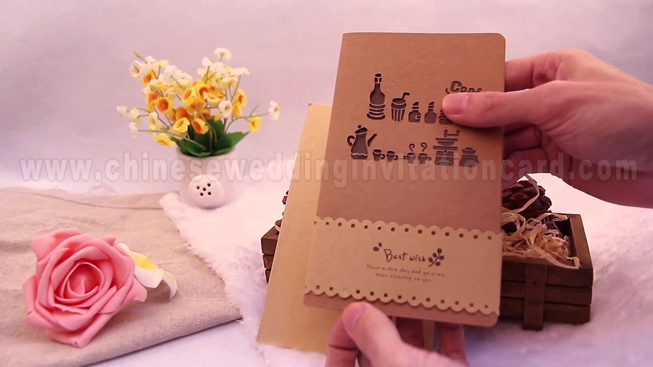 Pierced lovely pattern brown paper Chinese wedding invitation card ...