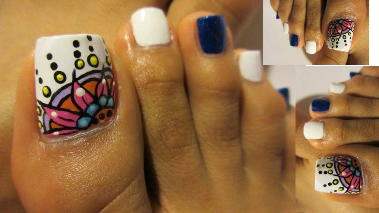 Uñas De Los Pies Decoradas Colores Diseño Mandalas Pedicure Design