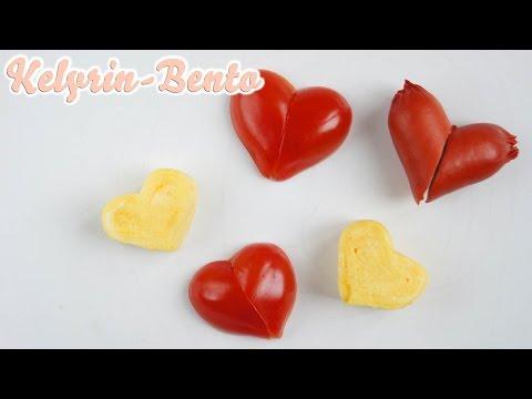 Download Heart-shaped food ideas for Bento - sausage, tamagoyaki (fried egg) and tomato Screenshots